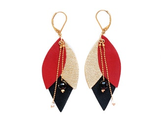 Leather red Tulip earrings