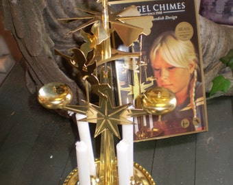 Swedish Brass,Gold coloured spinning Angel candle carousel.Spins in the heat