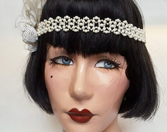 1920s GREAT GATSBY Beaded Flapper Headband w/ Feather