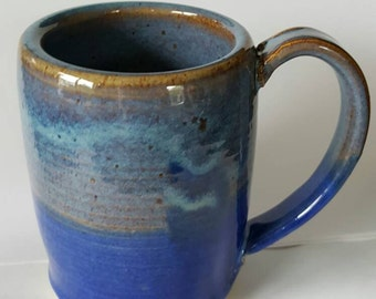 Handmade ceramic pottery blue ocean mug cup with wave decoration