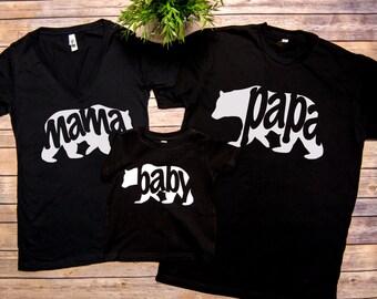 FREE SHIP, Mama Bear+Papa Bear set of 3,Mama Bear Shirt, Papa Bear Shirt, Family matching shirts, Mama bear.