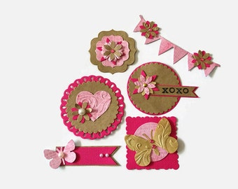 Embellishments for scrapbooking and card making acid free - Wedding  scrapbook embellishments -  Paper decorations for scrapbook layouts