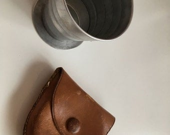 Vintage Travel Collapsable Cup with Leather Case