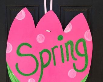 Spring Tulip Wood Door Hanger