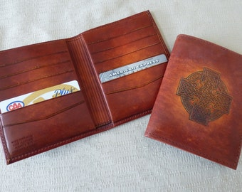 leather wallet,Horween leather,Celtic cross,12 credit card slots,  Canadian made,hand crafted, hand dyed, billfold, special occassion