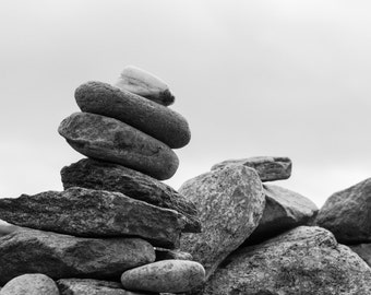 Stones - Balance - Stones Photo - Balance Photo - Black and White - Digital Photo - Digital Download - Instant Download - Living Room Decor