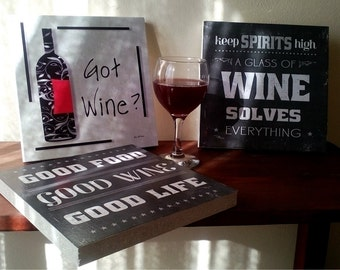 Wine, Wine quotes, Chipboard Art Print, Wall Decor, For home and office decoration, Handcrafted from recycled chipboard