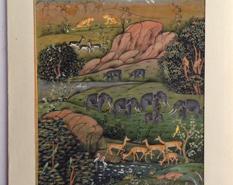 Vintage Wildlife Landscape painting with Farsi script