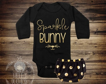 2 Day Sale! Sparkle Bunny Shirt - Baby Girl Clothes - Baby Girl Easter Shirt - Girl Easter Bodysuit - Bunny Shirt - Personalized 197