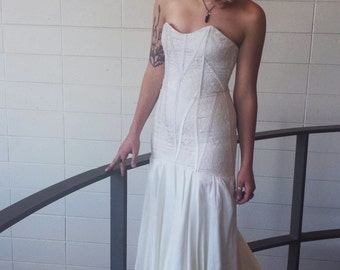 Handmade Vintage Lace Strapless Bridal Gown