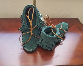Moccasins, Leather, Suede, Handmade, Ankle Boots, Green, Hunter Green