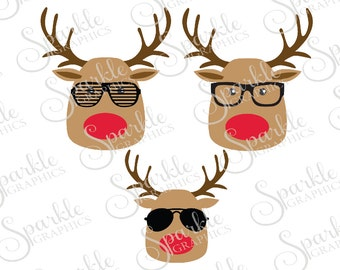 Hipster Reindeer Cut File Set Christmas SVG Reindeer Glasses Hipster XMas Winter Svg Dxf Eps Png Silhouette Cricut Cut File Commercial Use
