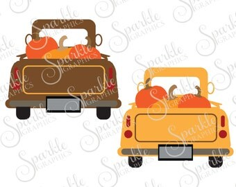 Antique Truck Cut File Blank  Fall SVG October Pumpkin Vintage Truck SVG Clipart Svg Dxf Eps Png Silhouette Cricut Cut File Commercial Use