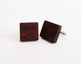Cherry Wood Cufflinks - silver