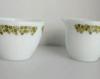 Pyrex Corning Green Spring Blossom Flowers Creamer Cream Sugar Set Bowl Pitcher Matches Corelle