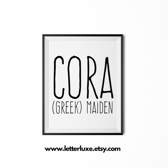 Cora name meaning art printable baby shower gift nursery for Decor meaning
