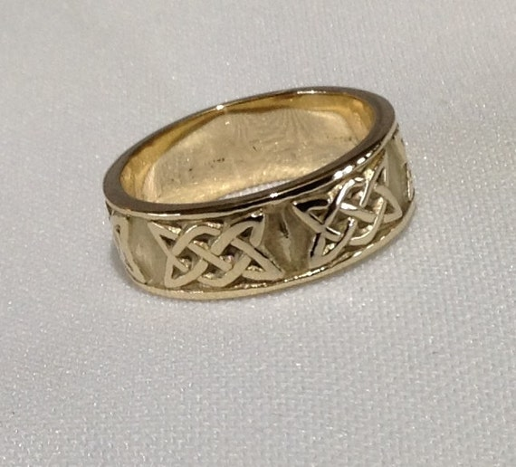celtic wedding band ring vintage ring 14k yellow gold size