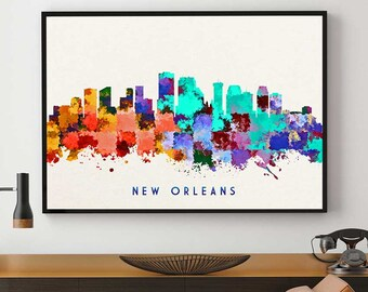 New Orleans Skyline, New Orleans Print, New Orleans Decor, New Orleans Painting, Watercolor New Orleans, Louisiana Art (N156)