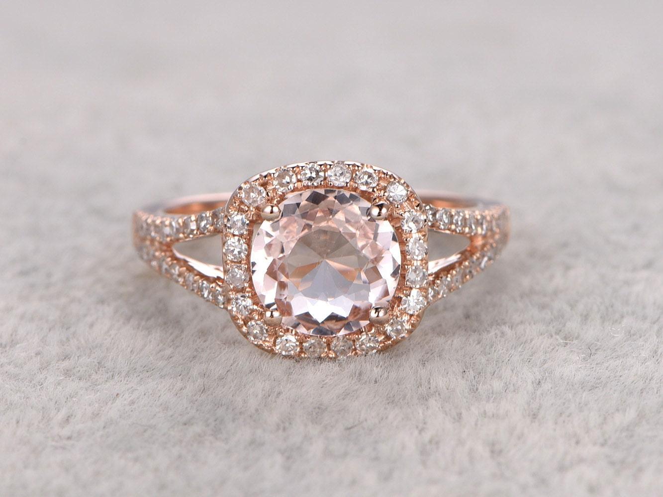 7mm morganite engagement ring rose golddiamond wedding. Black Bedroom Furniture Sets. Home Design Ideas