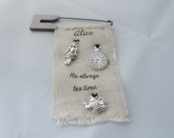 Alice in Wonderland Linen Brooch, Kilt Pin, Badge with Charms