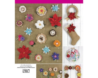 Sewing Pattern for Decorative Fabric Flowers , Simplicity 1601, Flower Pattern, Make Flowers from Fabric, Burlap Christmas Wreath