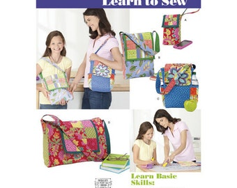 Sewing Pattern for Misses' bags & Totes,   Simplicity 1935, LEARN TO SEW Pattern, Cell Phone Tote, Lunch Tote, Tablet Bag, Book Bag
