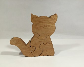 Wooden Cat Jigsaw Puzzle