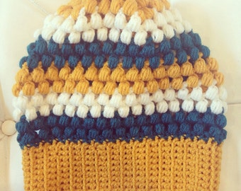 Mustard, teal and white womens slouvhy beanie