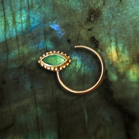 gold nose stud with emerald nose ring tribal nose stud ring