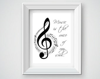 Instant Digital Download, Music is the Voice of the Soul, Music Printable, Music Wall Decor, Music Wall Art, Printable Music Quote, Music