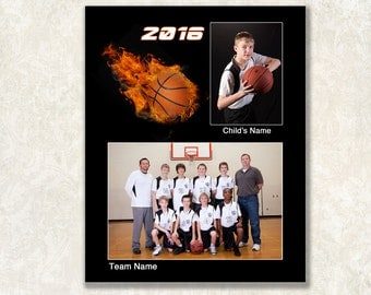 Basketball Memory Mate Template, Sports Mate, 8x10, Instant Download, Photoshop PSD File, Layers