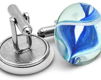 Glass Marble Spiral Toothpaste Design Cufflinks blue
