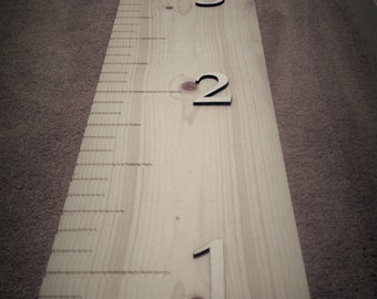 Unfinished Wood Growth Chart and oversized ruler.  Use to measure your child's height.  8 inches wide