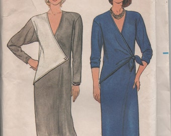 Butterick 6824 Ladies Crossover Dress 2 Styles 1980s Packet Damaged Uncut