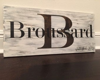 Personalized rustic wooden sign with last name and established date