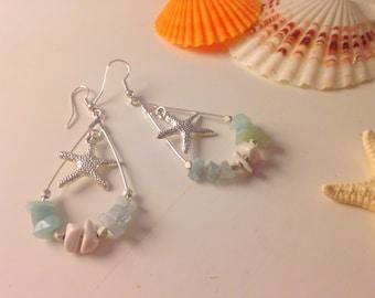 Silver hoop earrings/Aquamarine/Amazonite/White Turquoize/Starfish charm/Summer earrings
