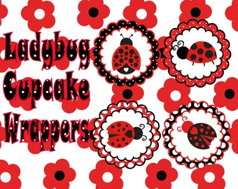 Ladybug Cupcake Toppers- INSTANT DOWNLOAD