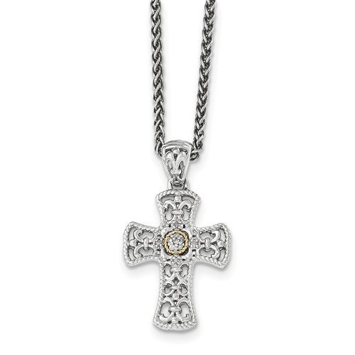 Sterling silver 14 karat yellow gold diamond cross 18 for 14 karats fine jewelry