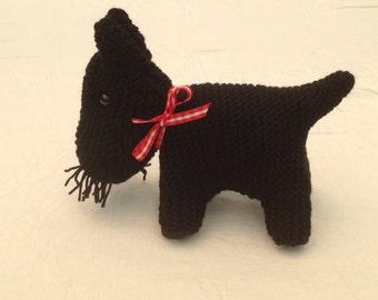 Hand knitted Toy Scottie dog