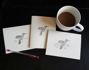 Handmade Stationary Set,  Handmade Note Card Set,  Hummingbird,  Nature Note Card Set, Bird Note Card Set, Blank Inside,  Any Occasion