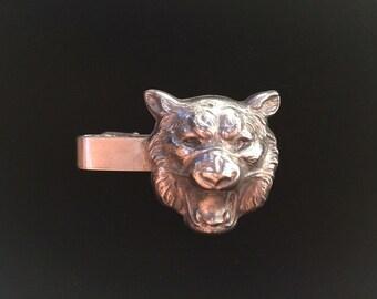 Silver Lion Tie Clip