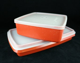 Vintage Red Tupperware Storage Containers with Lids (Set of 2)