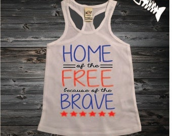 Fourth of July, 4th of July Tank, Country Festival Top. American-Flag, July 4th Shirt, Memorial Day shirt Toddler Girl Racerback HOME