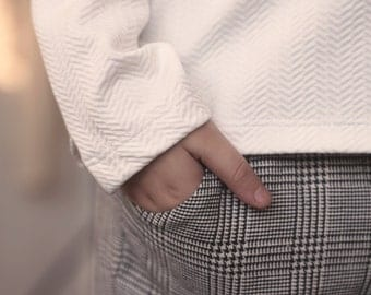 Staight Cropped Pants / Side Pocket