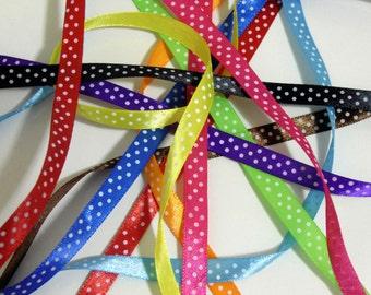 5 yd Satin Ribbon with white Polka Dots #ER16