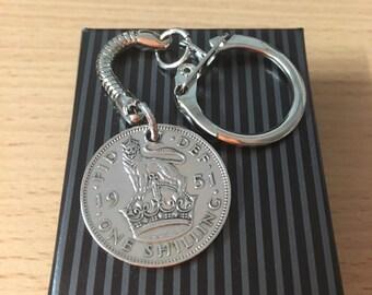 65th birthday gift Retirement Gift - one Shilling Coin Keyring English/Scottish - gift Boxed - Free UK p+p - Perfect Gift Birthday Bespoke