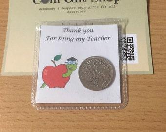 Personalised lucky sixpence teacher thank you  keepsake gift