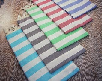 SALE!! %70 OFF Striped Peshtemal: Blue, Green, Black, Red, Turquois, High Quality Peshtemal, Beach Towel