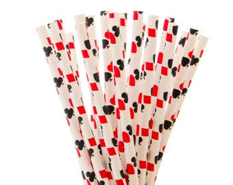 Paper Straws, Red and Black Paper Straws, Playing Cards Straws, Red and Black Party Decor, Poker Night Paper Straw, Casino Party Paper Straw