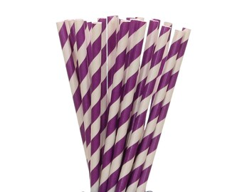 Paper Straws, Purple Striped Paper Straws, Wedding Paper Goods, Engagement Party Straws, Tea Party Paper Straw, Graduation Party Paper Goods